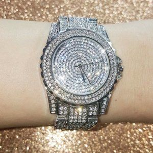 Silver Crystal Covered Watch